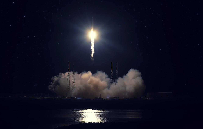 Фото обои старт, SpaceX, Falcon 9, мыс Канаверал, Dragon Fire. ракета