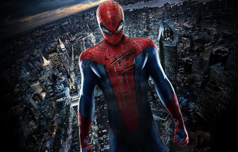 Фото обои город, человек паук, раны, Spider Man