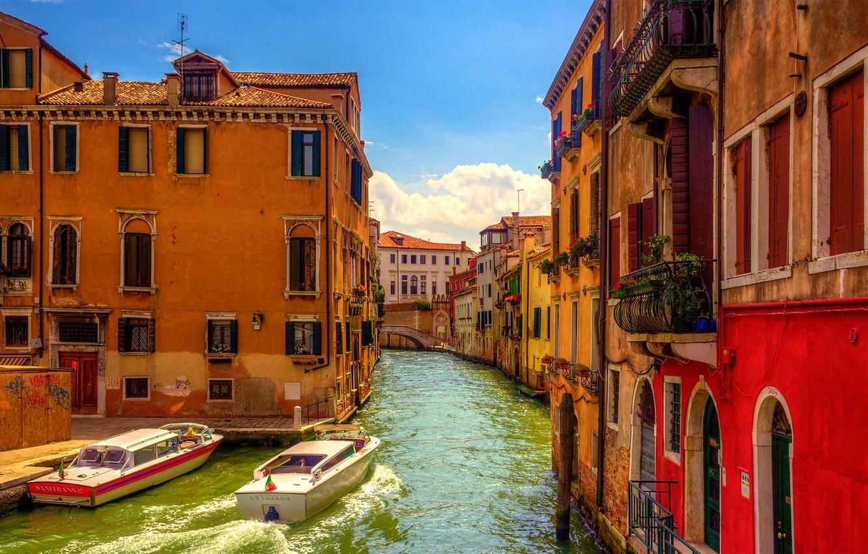 Обои Venezia, venice, italy, катер, канал, дома, венеция. Города foto 6