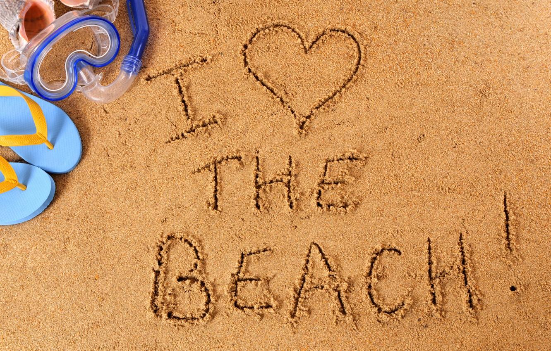 Фото обои beach, sand, i love