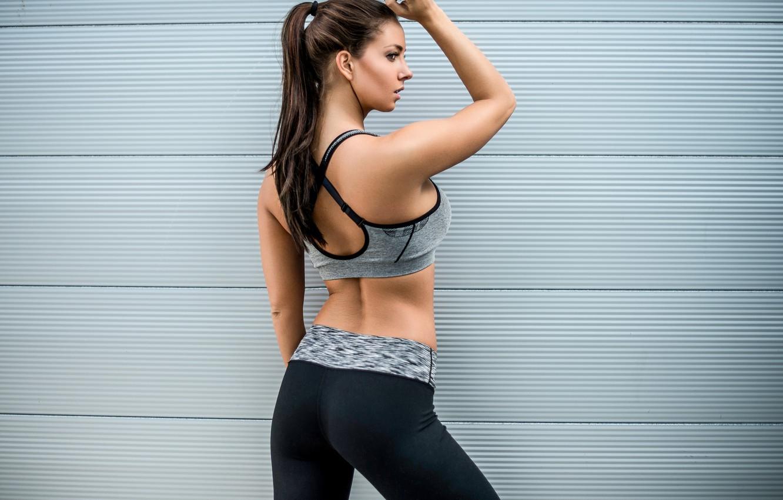 Фото обои девушка, лицо, фон, спина, фигура, фитнес, Janna Breslin