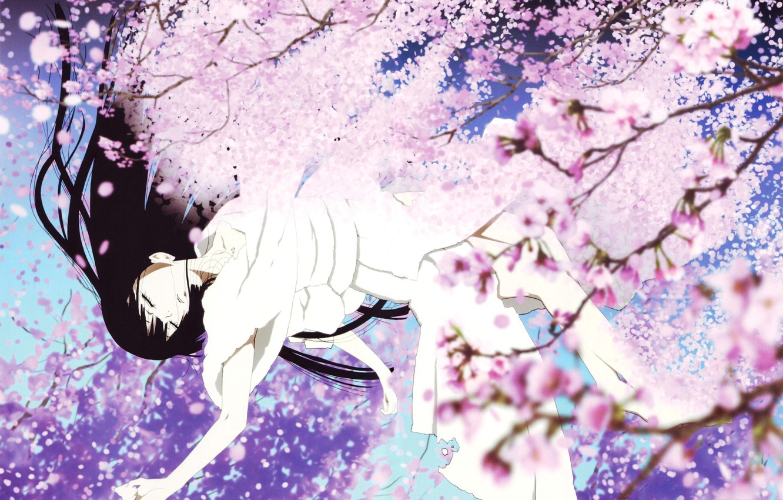Фото обои Девушка, Сакура, Падение, Цветы.