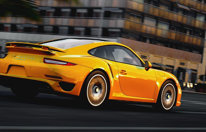 Фото обои дорога, город, скорость, Порше, Porsche 911, Turbo S