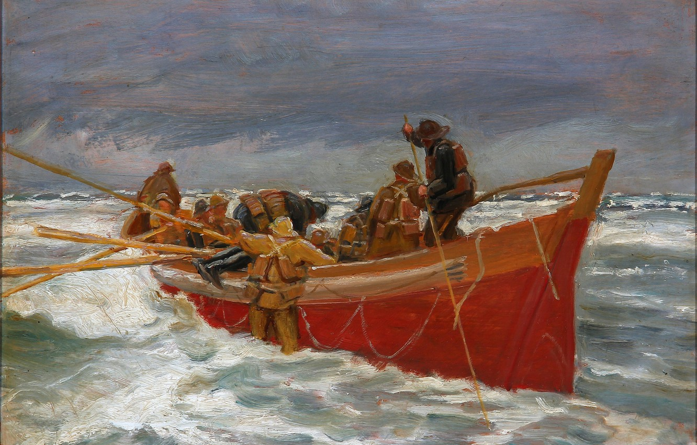 Фото обои море, небо, шторм, лодка, картина, рыбаки, Michael Ancher
