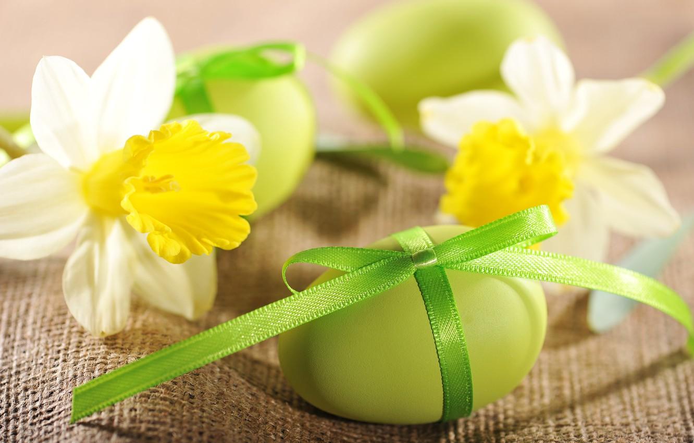 Фото обои цветы, яйца, Пасха, flowers, нарциссы, spring, Easter, eggs