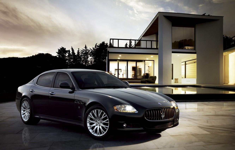 Фото обои Maserati, Quattroporte, Вечер, Черный