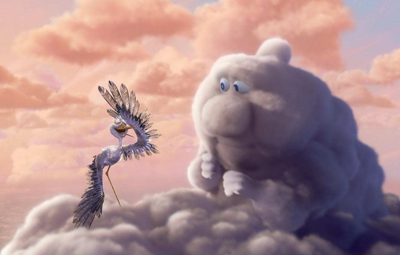 Фото обои небо, облака, птица, рисунок, аист