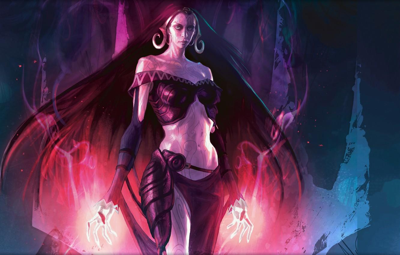 Фото обои девушка, пламя, магия, волосы, темный, символы, маг, миры, темные, длинные, Magic The Gathering, Liliana of …