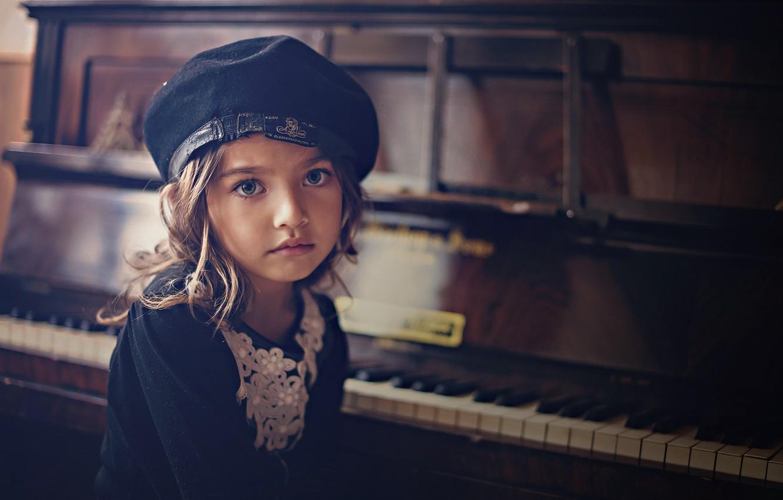 Фото обои портрет, девочка, пианино