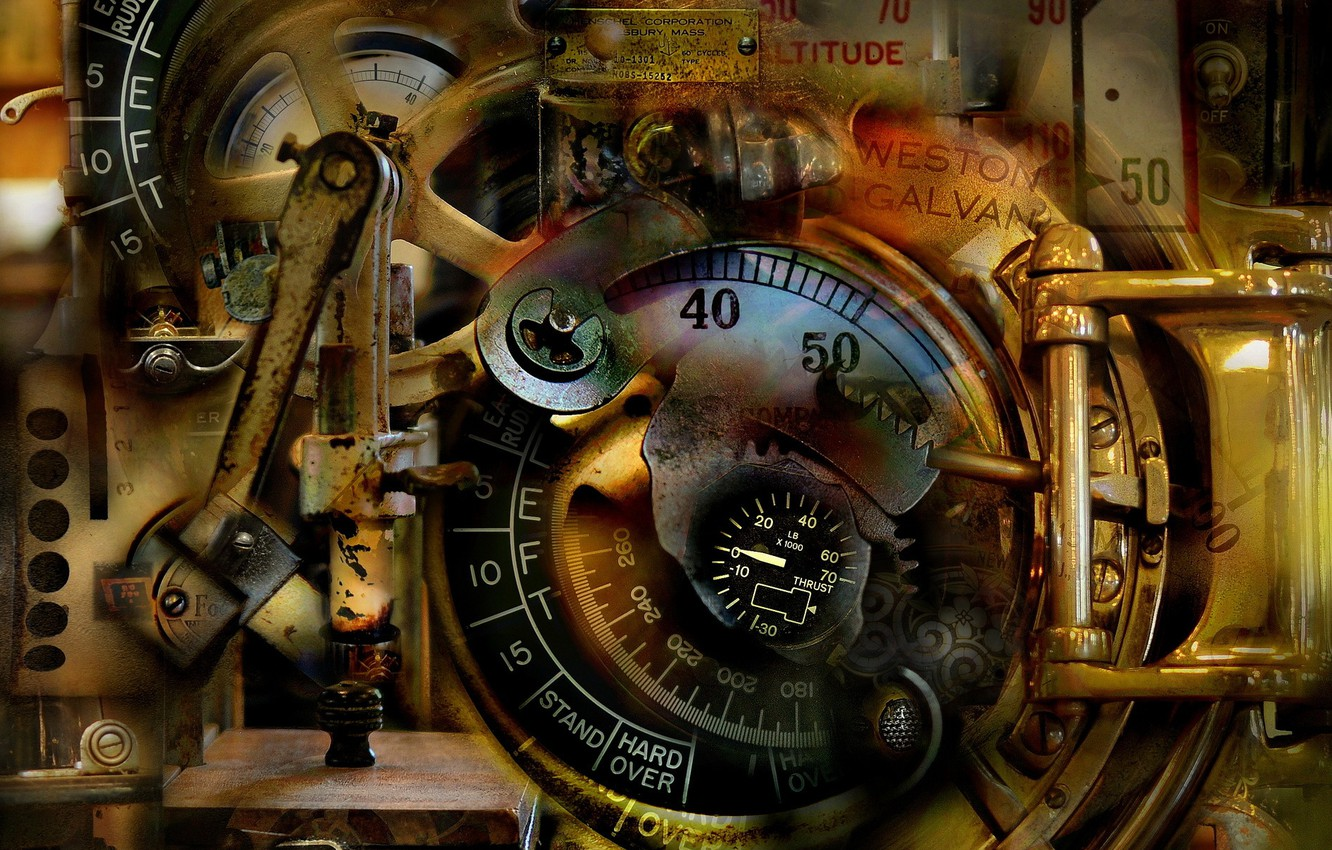 Фото обои abstract, antique, surreal, mechanical dream