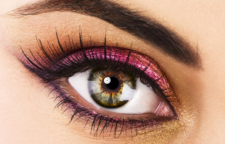 Фото обои взгляд, макро, глаз, ресницы, макияж, зрачок, тушь, тени, Beautiful eye