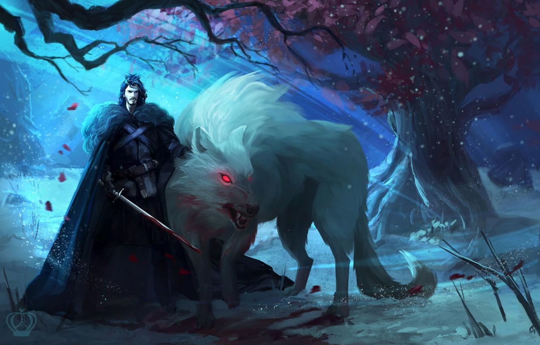 Фото обои дерево, волк, арт, мужчина, Ghost, Призрак, Игра Престолов, Game of Thrones, Джон Сноу, Jon Snow, …