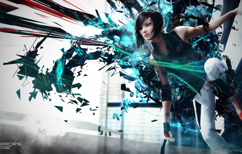 Фото обои abstract, girl, background, Electronic Arts, DICE, video games, Faith, Mirrors Edge 2, Faith Connors, Mirror's …