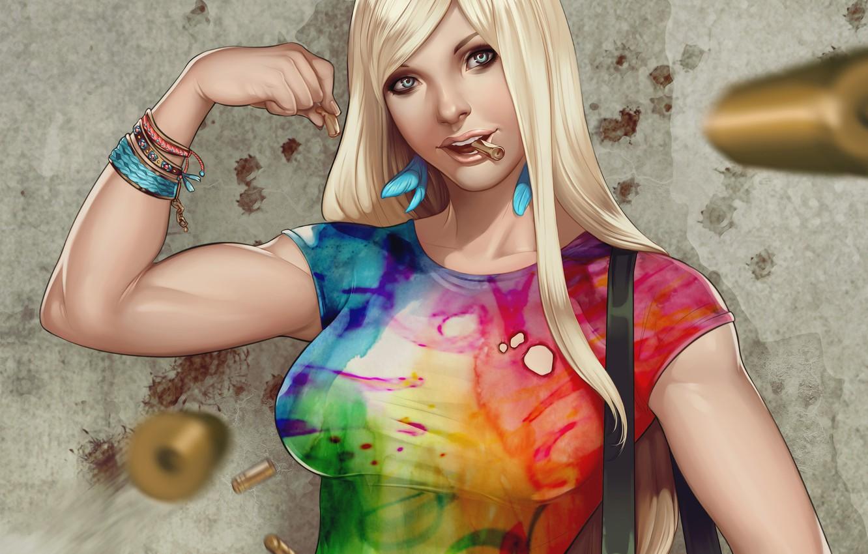 Фото обои девушка, стена, серьги, перья, арт, футболка, блондинка, браслеты, гильзы, мускулы, Supergirl