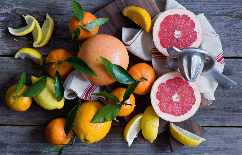Фото обои цитрусы, лимоны, мандарины, грейпфруты