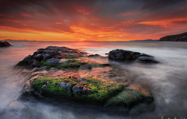 Фото обои вода, пейзаж, закат