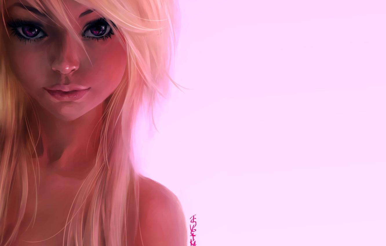 Фото обои взгляд, девушка, волосы, портрет, арт, блондинка, розовый фон, ink-pot