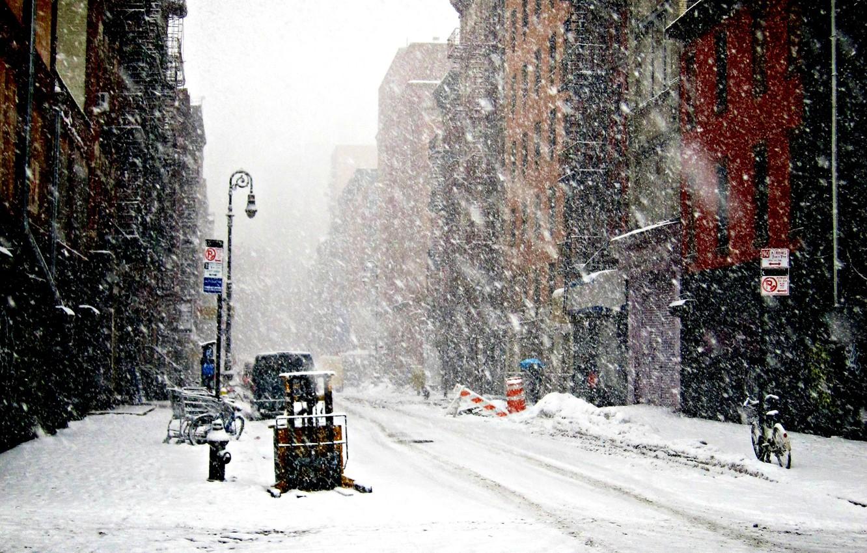 Фото обои Зима, Нью-Йорк, Снег, снегопад, Winter, New-York, snowfall, New-york under snow