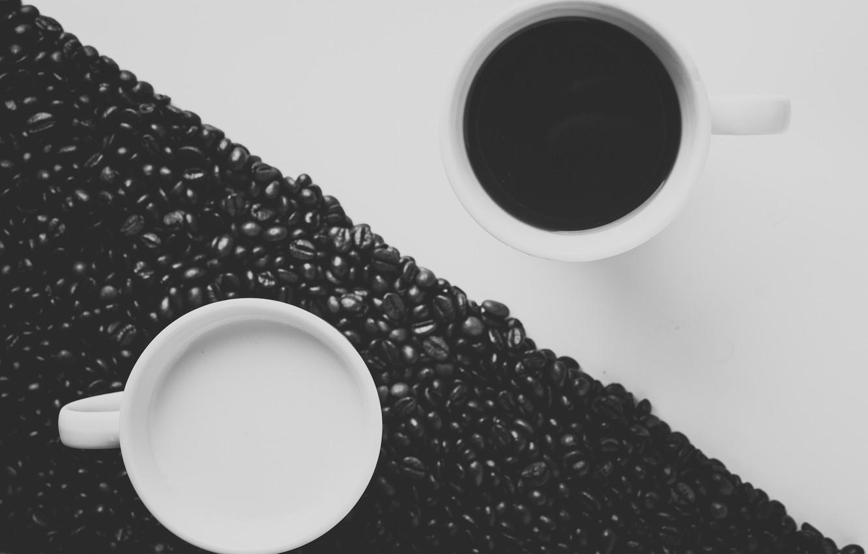 Фото обои кофе, зерна, молоко, кружки