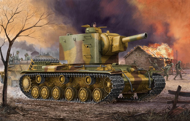 Фото обои war, art, painting, ww2, Kliment Voroshilov, KV-2, captured tank