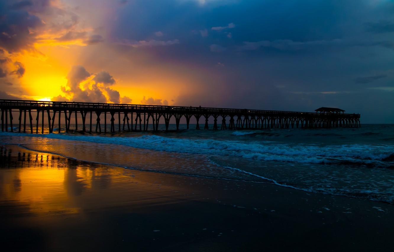 Фото обои море, пейзаж, закат, мост, природа, красота