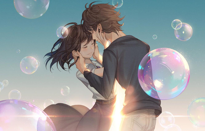 Фото обои девушка, улыбка, пузыри, аниме, слезы, арт, пара, парень, двое, gahyun park