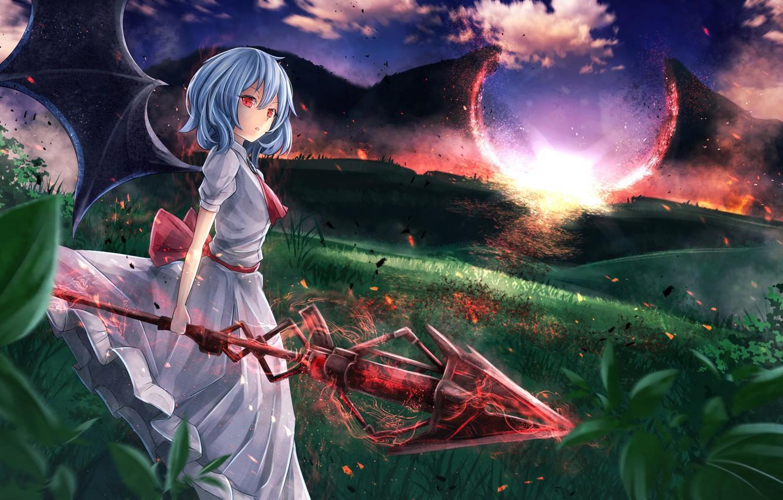 Фото обои небо, девушка, облака, пейзаж, закат, природа, оружие, магия, крылья, аниме, арт, копьё, touhou, remilia scarlet, …