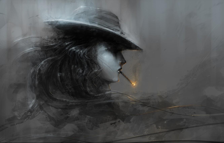 Фото обои девушка, огонь, шляпа, арт, сигарета, профиль, черно-белое