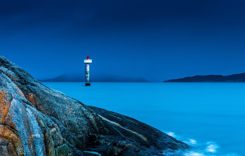 Фото обои море, ночь, скалы