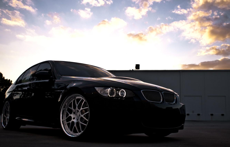 Фото обои небо, облака, закат, чёрный, бмв, BMW, black, Sedan, E90
