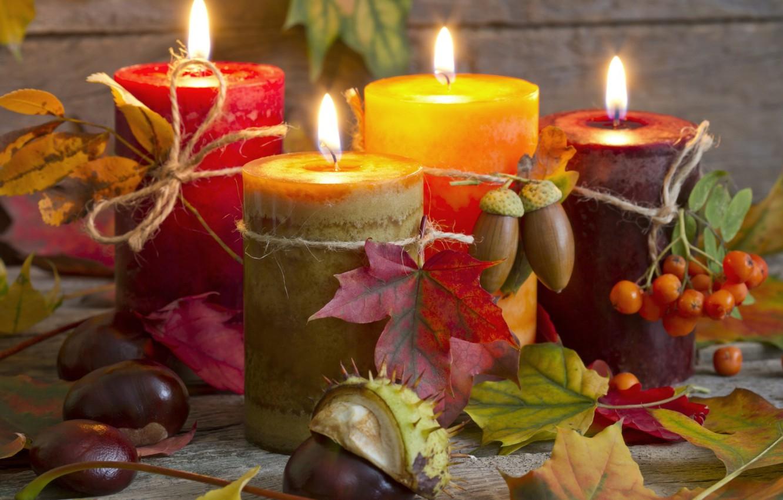 Фото обои осень, листья, свечи, натюрморт