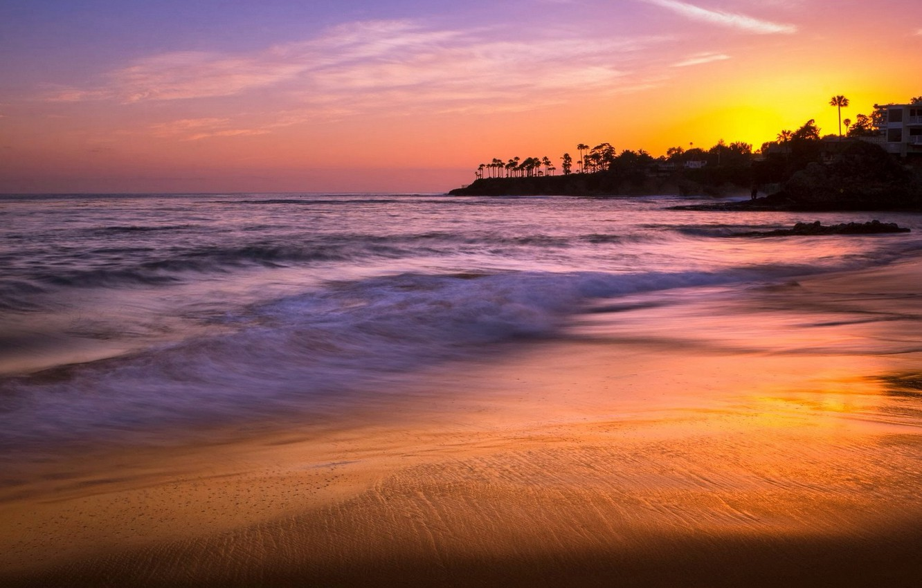 Фото обои sunset, Laguna Beach, Heisler Park