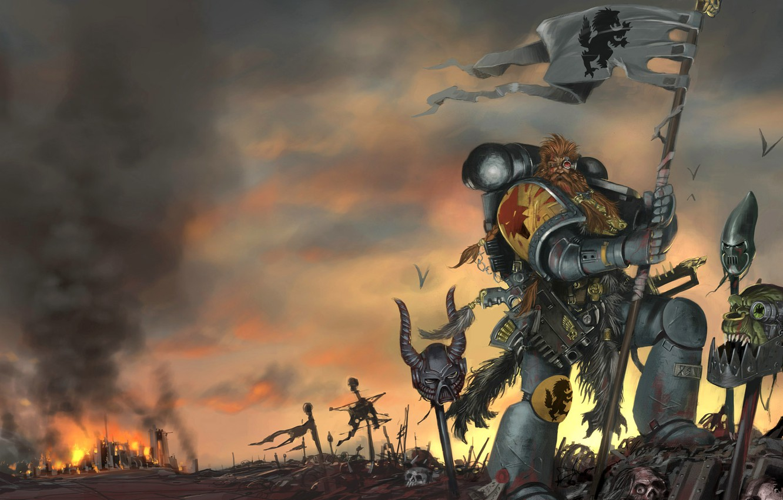 Фото обои Warhammer 40000, Space Wolves, Космические Волки