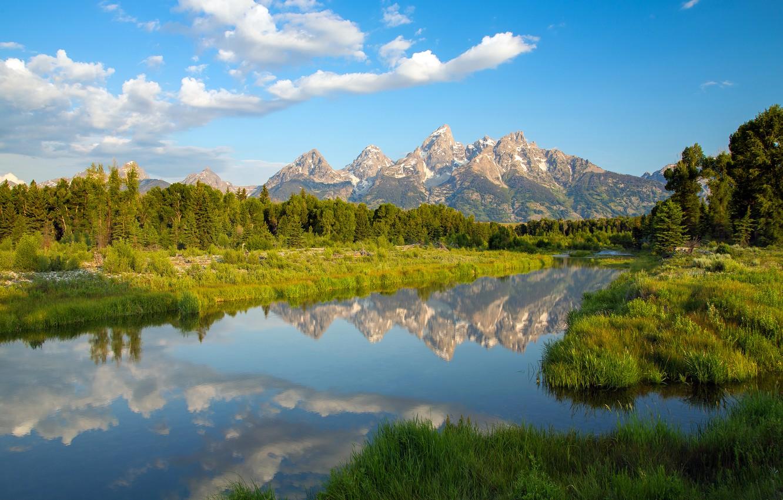 Фото обои горы, озеро, отражение, Вайоминг, Wyoming, Гранд-Титон, Grand Teton National Park