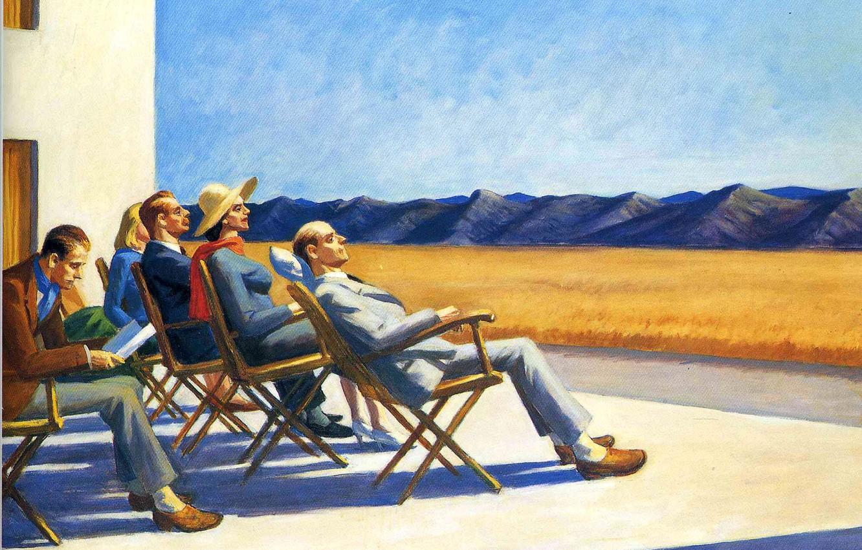 Фото обои горы, люди, отдых, картина, Эдвард Хоппер, жанровая, People In The Sun