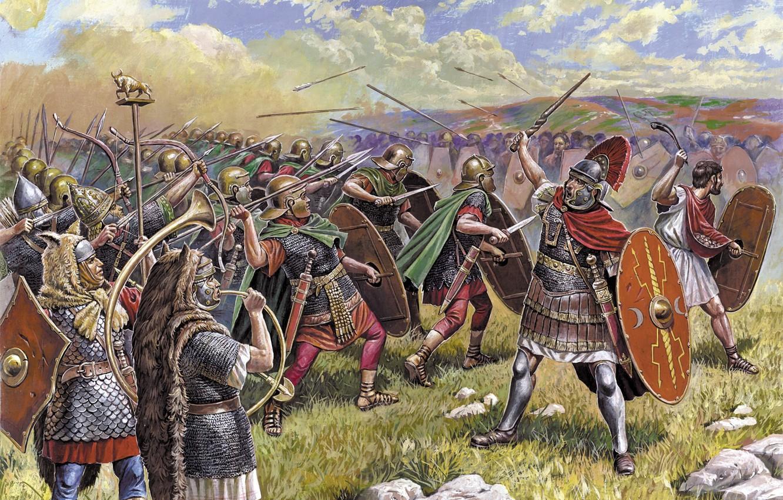 Фото обои атака, рисунок, Рим, сражение, мечи, стрелы, музыкант, щиты, копья, пехота, лучники, луки, центурион, Древний, сигнифер, …