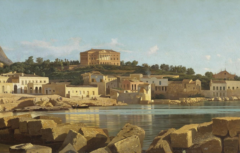 Фото обои море, город, камни, гора, холм, италия, Francesco Lojacono, палермо