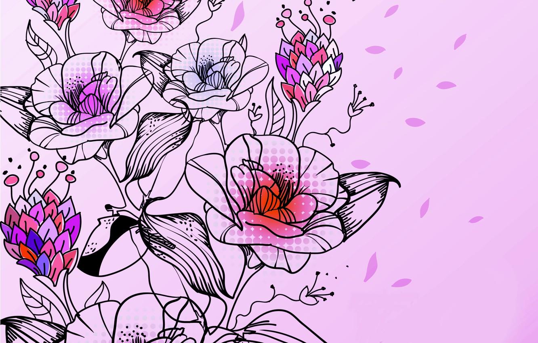 Фото обои цветы, абстракция, розы