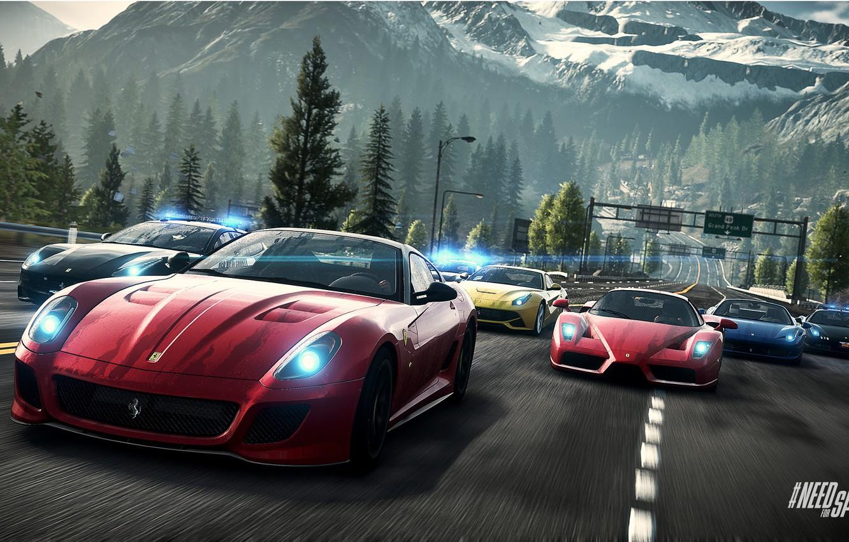 Фото обои Дорога, Горы, Ferrari, Race, Пейзаж, Enzo, Group, 458 Italia, F12 Berlinetta, Need For Speed : …