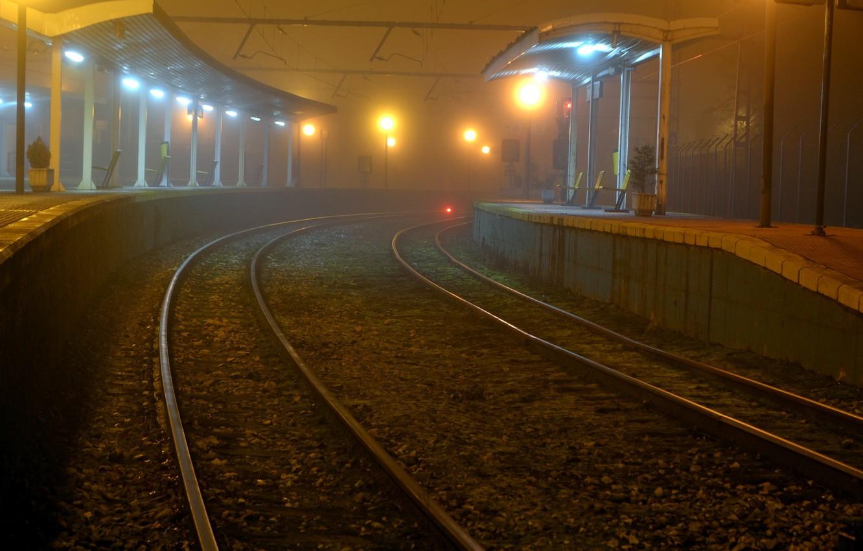 Обои ночь, станция, Железная дорога. Города foto 10