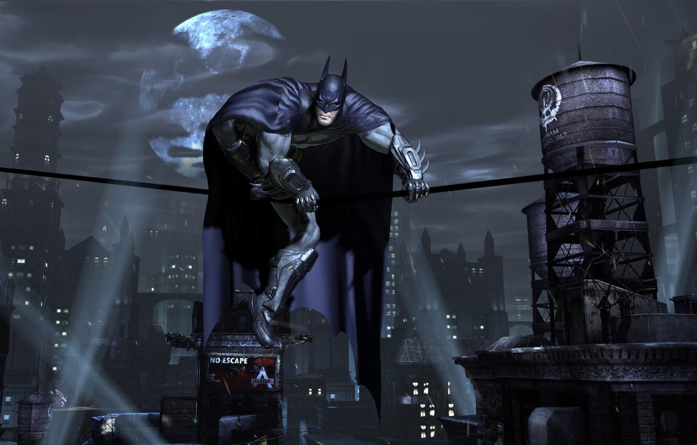 Фото обои ночь, город, огни, луна, маска, плащ, Batman, супергерой, Готем Сити