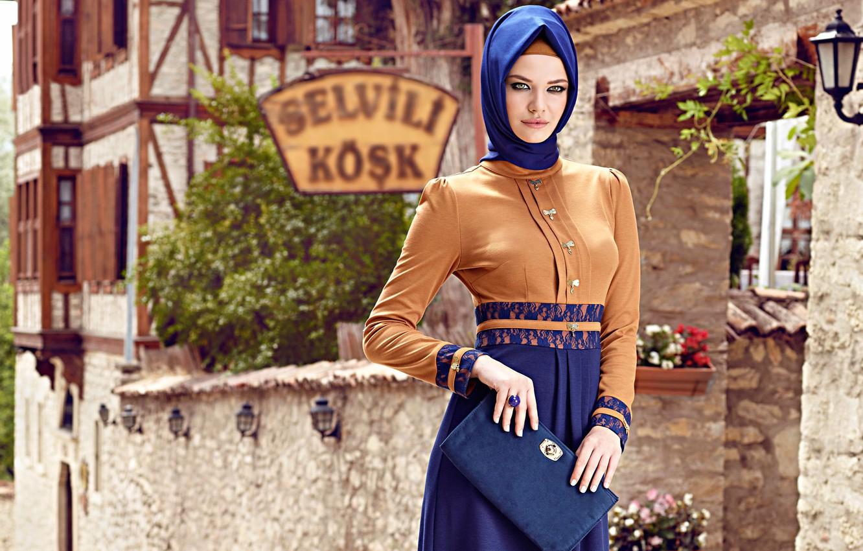 Фото обои modern hijab clothing, Turk, girl. model