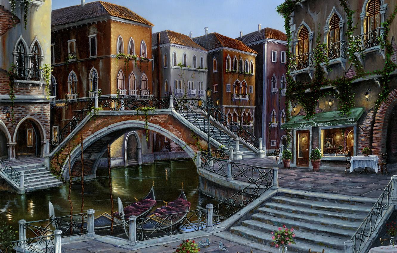 Обои кафе, канал, венеция. Города foto 12