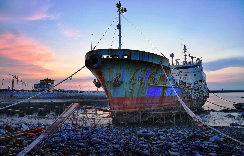 Фото обои город, корабль, причал