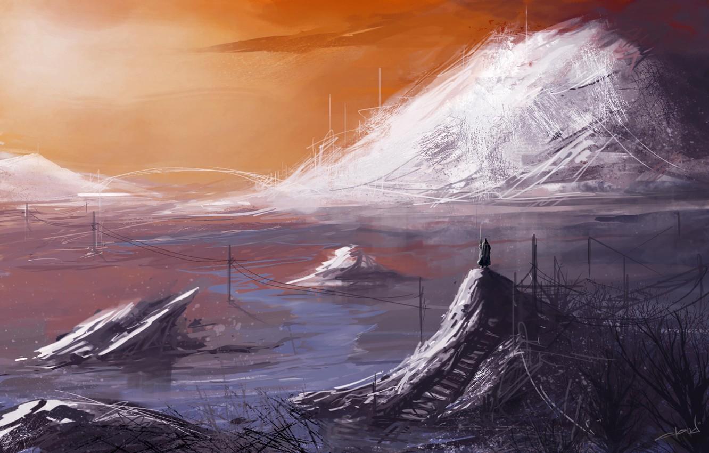 Фото обои вода, пейзаж, горы, фантастика, человек, арт, by cloudminedesign, itravel
