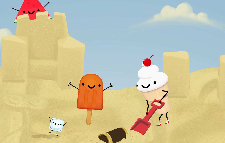 Фото обои песок, поле, трава, бабочка, мороженое, палатка, grass, сокровища, баня, field, butterfly, попкорн, sand, ice cream, …