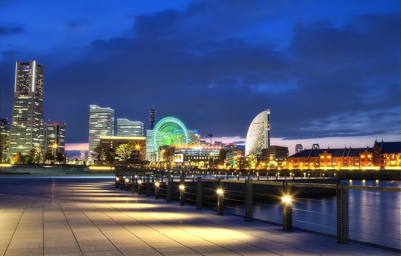Фото обои ночь, огни, Япония, порт, залив, Japan, набережная, мегаполис, Йокогама, Yokohama