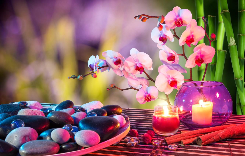 Обои листики, орхидея, спа камни, Полотенце. Разное foto 14