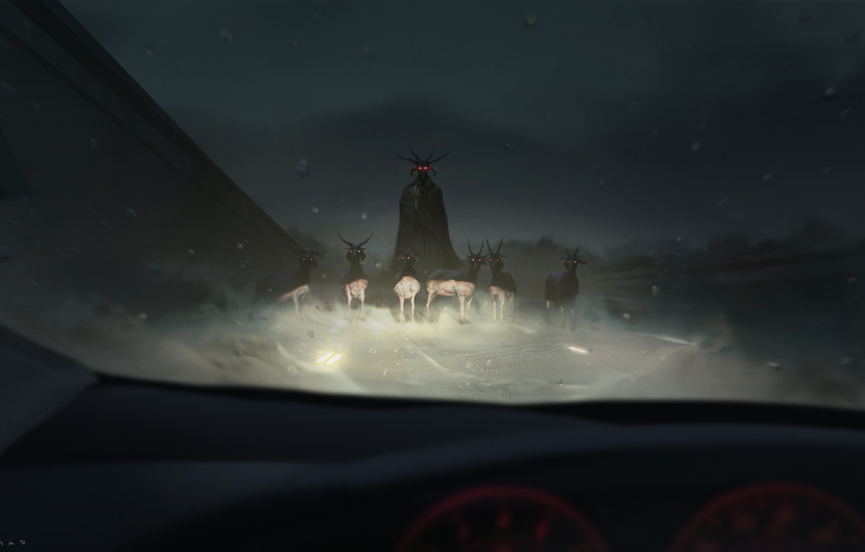 Фото обои авто, свет, ночь, демон, рога, салон, козы