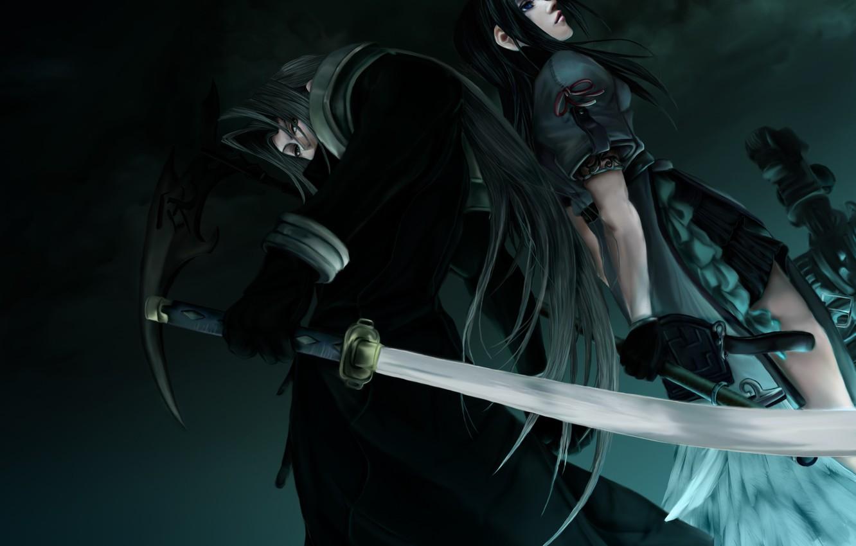 Фото обои девушка, меч, парень, Final Fantasy, Sephiroth